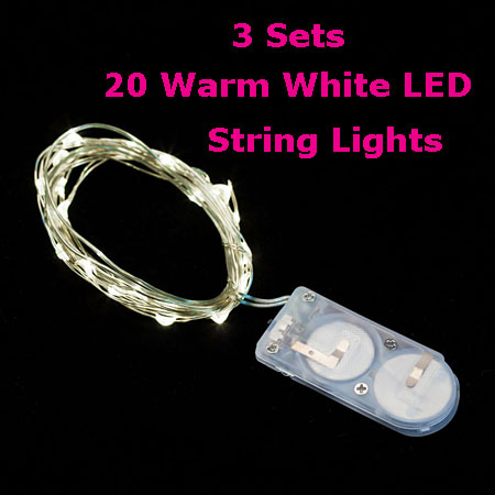 3 PACK - 20 Warm White LED Battery Mini Lights on Flexible Wire - Submersible - Buy Now