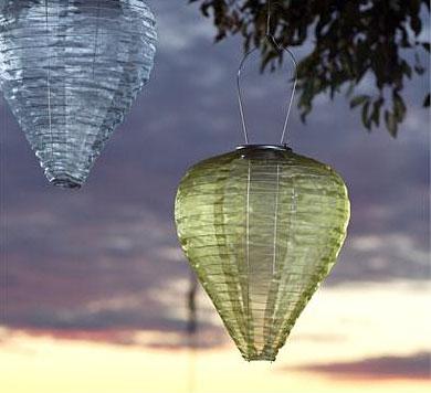 allsop 12 inch hanging outdoor solar lantern moss colored teardrop - Outdoor Solar Lanterns