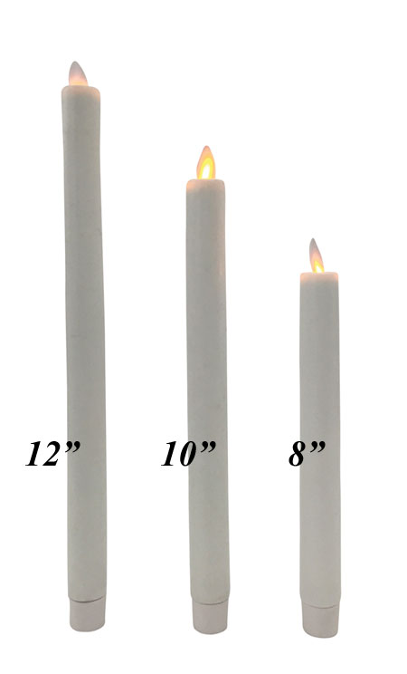 12 Inch Ivory Moving Flame Battery Operated Taper Candle