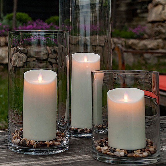 Outdoor Moving Flame Ivory Resin Battery Operated Candle 7