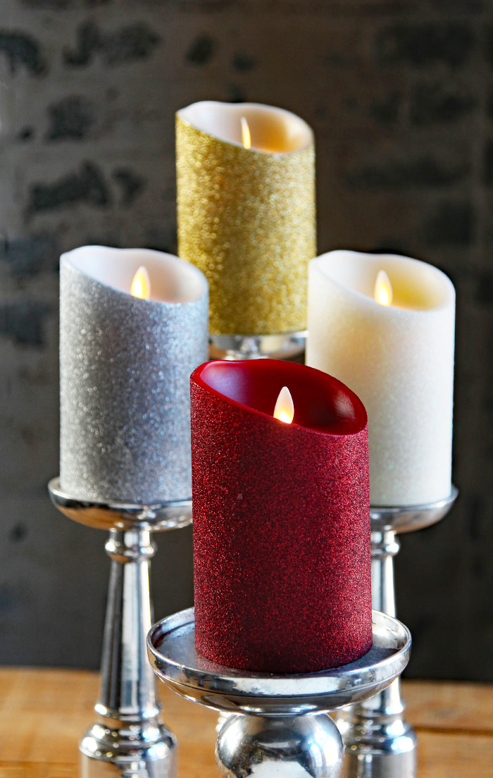 Moving Flame Gold Glitter Candle Battery Operated 3 5 X 5