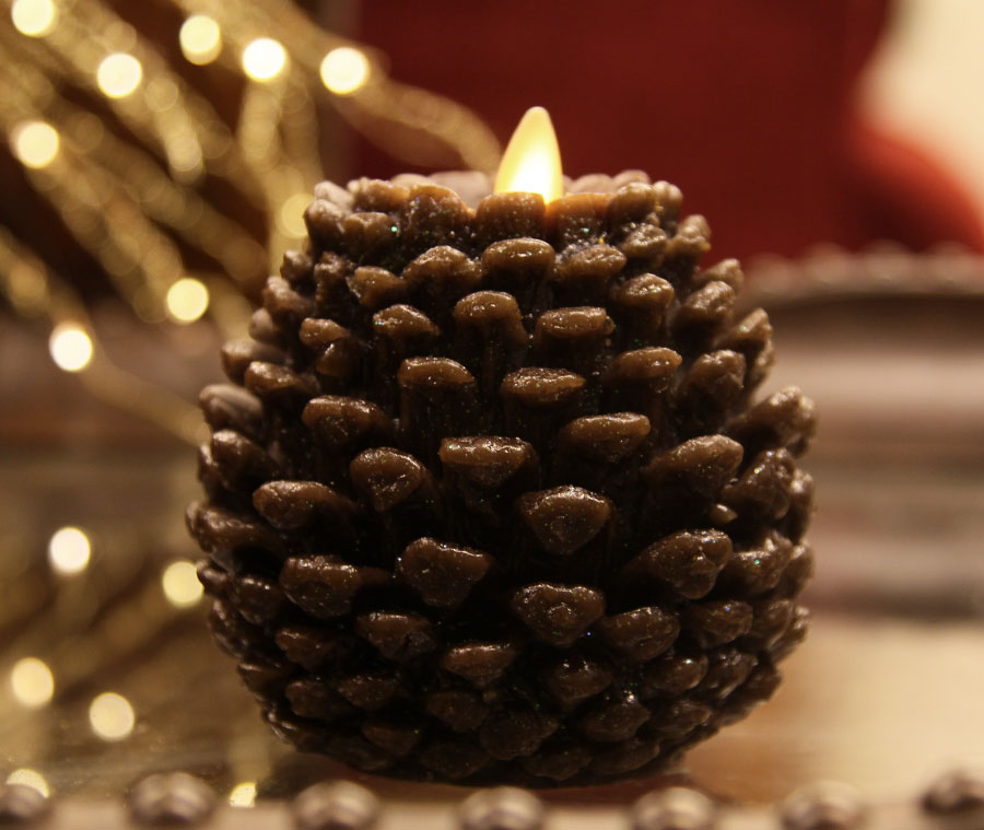 Moving Flame 4 5 Inch Brown Glitter Pine Cone Flameless