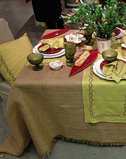 Rolls Of Burlap Fabric Jute Ribbon And Table Toppers