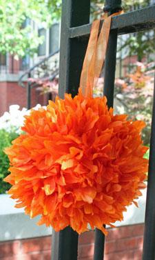 Silk flower ball orange 6 inch with organza ribbon mightylinksfo