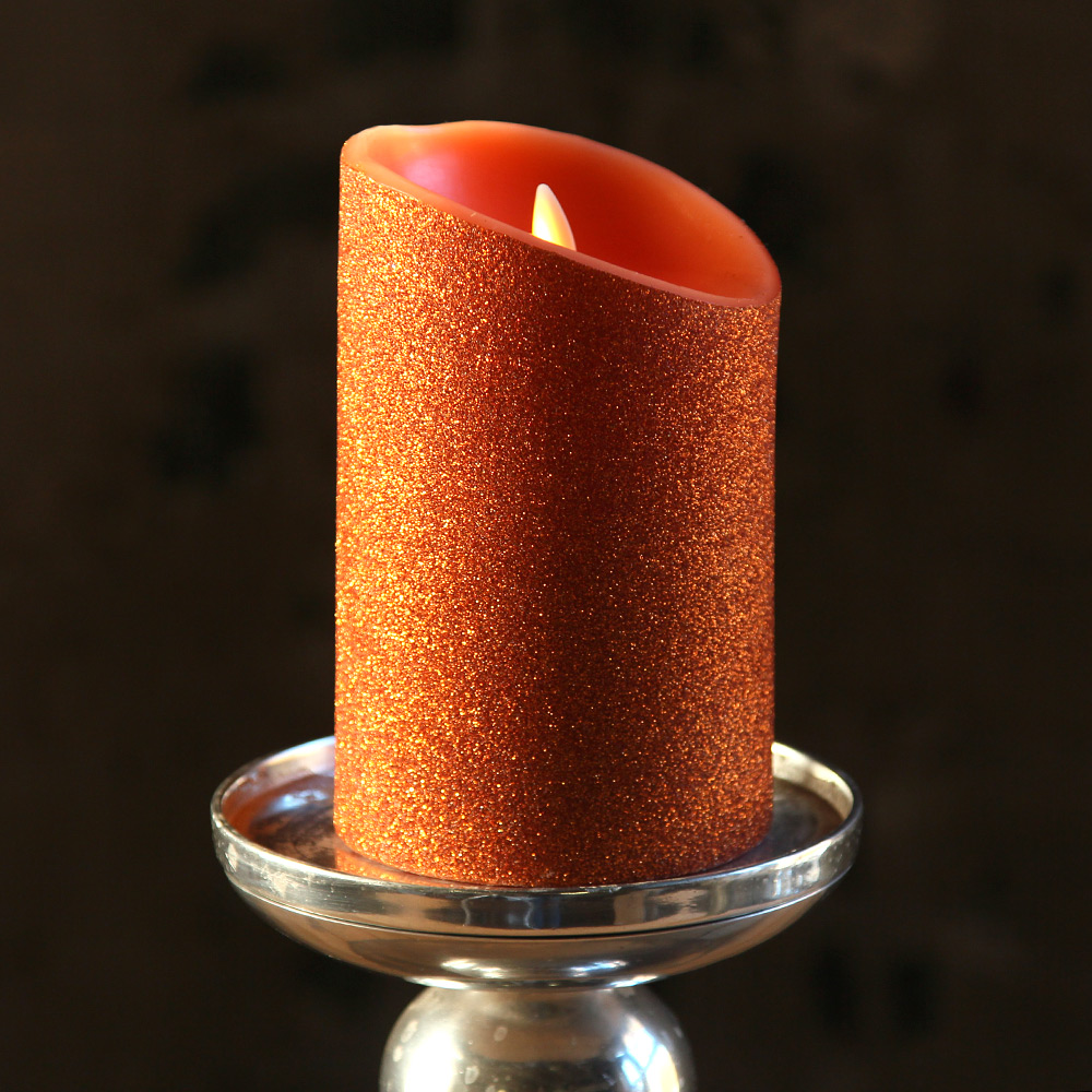 Moving Flame Orange Glitter Candle Battery Operated 3 5 X