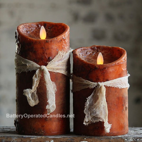 Moving Flame Primitive Rustic Orange Candle Battery