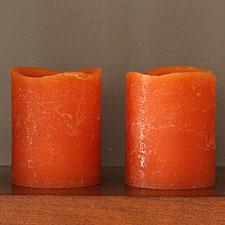 Battery Operated Pumpkin Wax Votives 2 x 2.5 Set-Two
