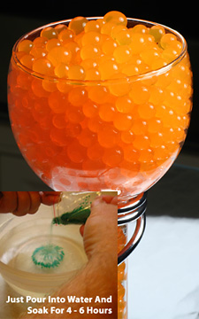 Orange water gel beads for floral arrangements