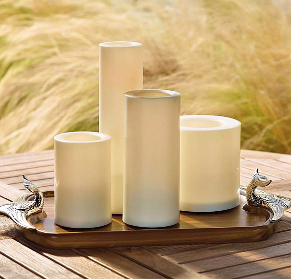 Outdoor 3 X 4 Candle Impressions Cream Flameless Candle