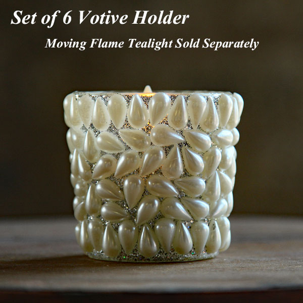 set of 6 pearl drop votive holder with silver glitter 2