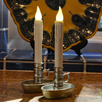 Set Of 2 Flameless Window Candles Warm White Led Bronze