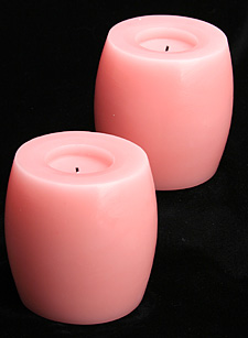 4 Inch Hurricane Pink Battery Operated Candle Set of 2