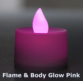 Tall Flameless Tea Lights Pink Led Battery Operated Set Of