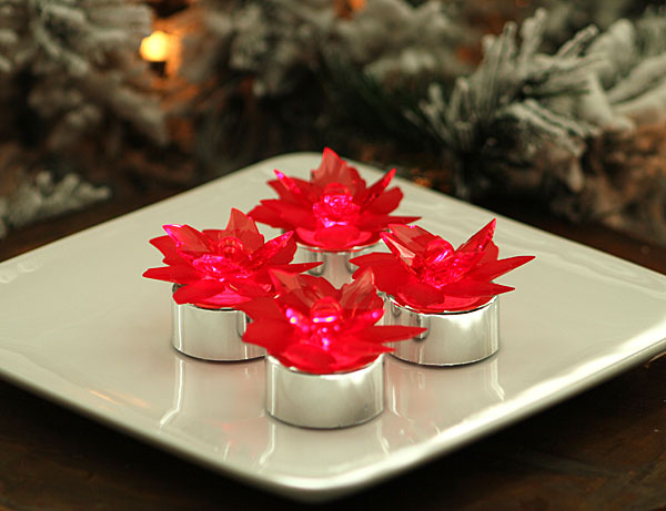 Red Acrylic Poinsettia Tea Lights Red Led Set Of 4