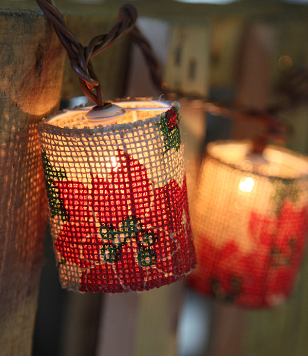 Poinsettia Design Burlap Patio String Lights   10 Lights   End To End  Connect