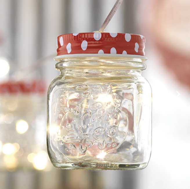 Mason Jar String Lights With Polka Dots Battery Operated