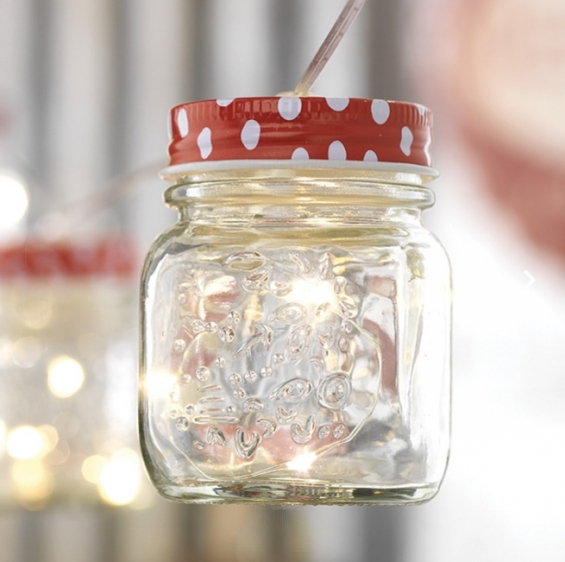 Mason Jar String Lights With Polka Dots Battery Operated From Raz