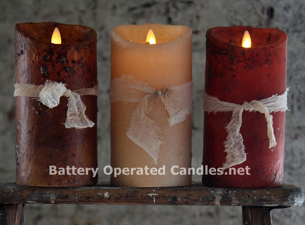 Moving Flame Primitive Brown Candle Battery Operated 3 5 X