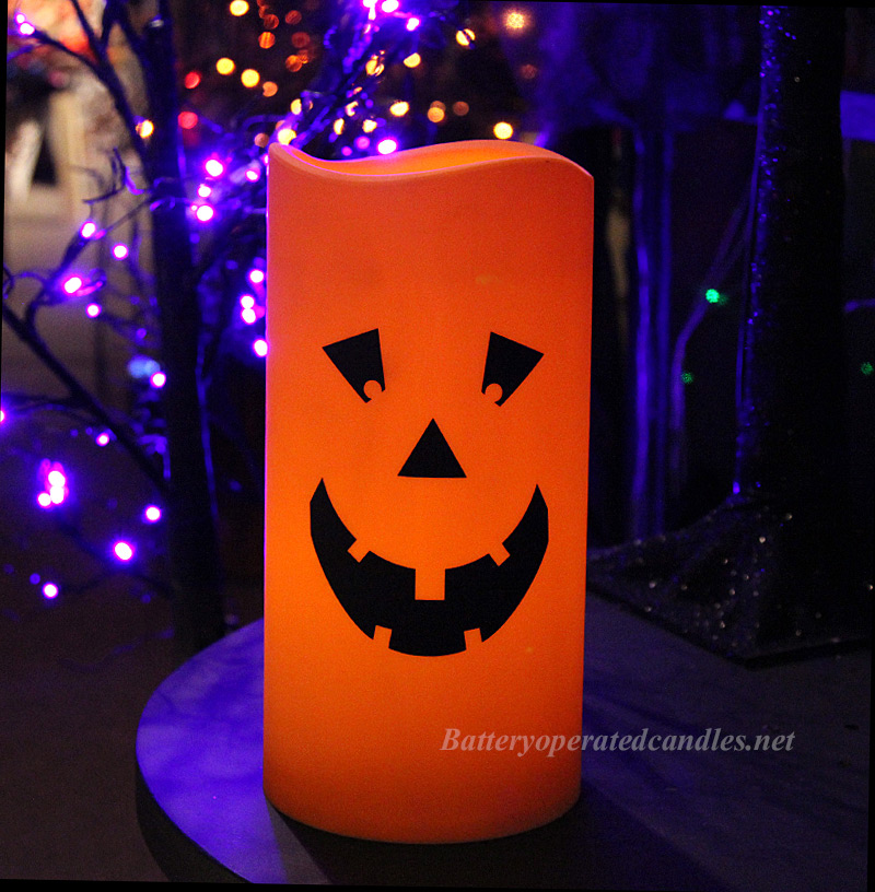 Halloween jack o lantern flameless outdoor candle 6 x 12 for Large outdoor christmas candles