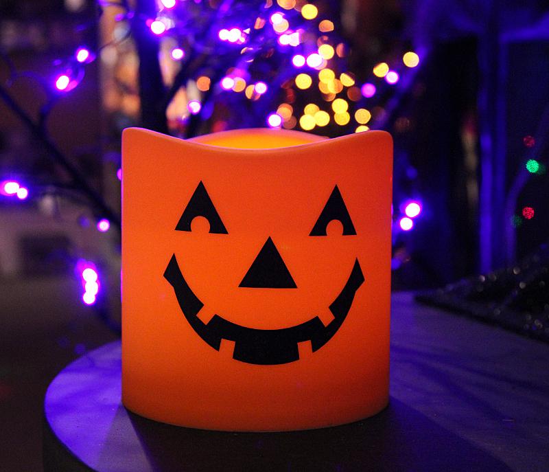 Halloween Jack O Lantern Flameless Pillar 6 X 6 Inch 5