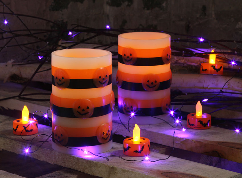 Set Of 2 Flameless Halloween Candles 3 X 5 Inch