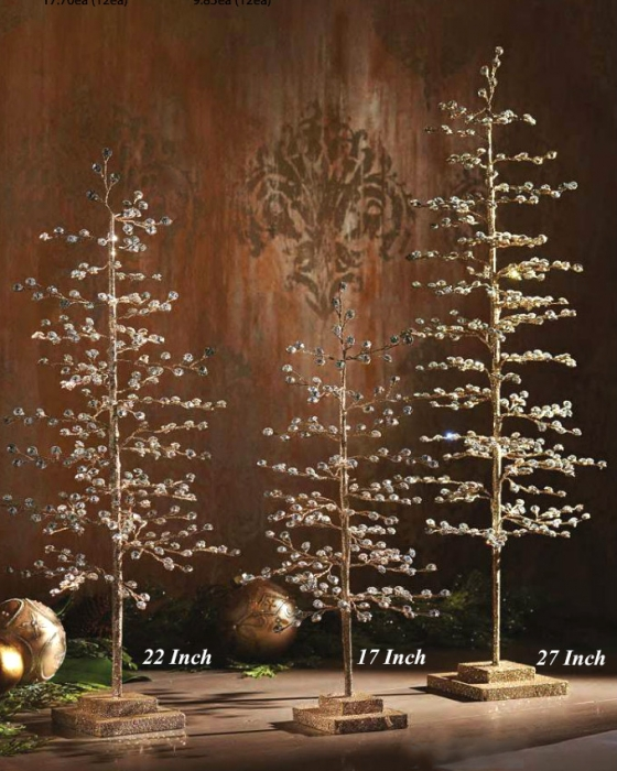 23 Inch Gold Glitter Tabletop Tree With Jewels