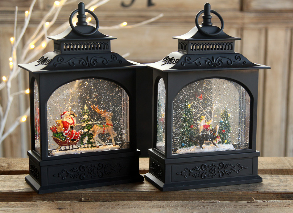 11 Inch Santa In Sleigh Lighted Water Lantern Timer From