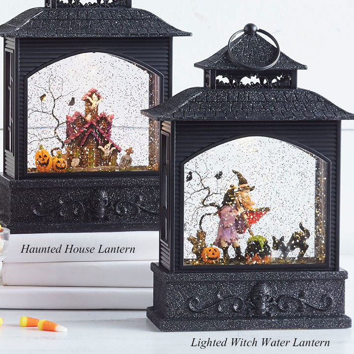 11 Inch Lighted Witch Water Lantern With Swirling Glitter