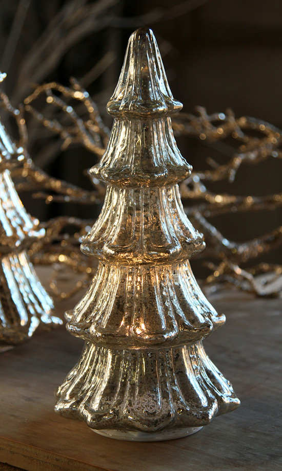 12 Inch Lighted Mercury Glass Christmas Tree From Raz