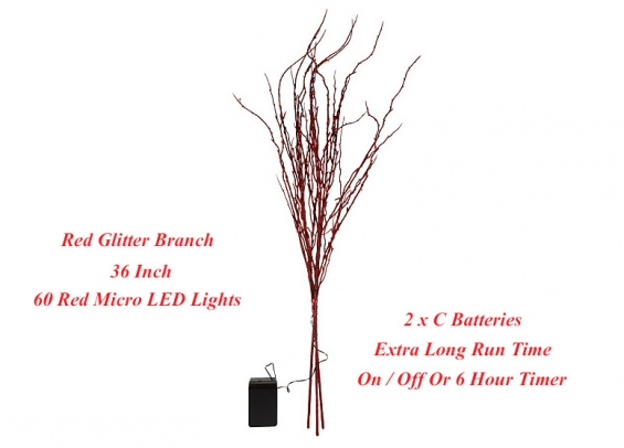 bethlehem lights battery operated red led glitter branch 36 inch timer