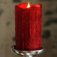 Simplux Led Silver Glittered Dripping Candle Moving