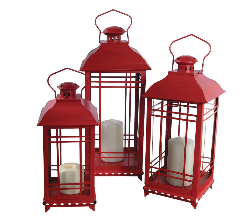 Set Of 3 Red Candle Lanterns 14 17 20 Inch