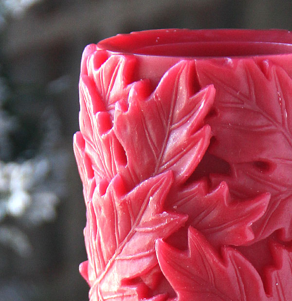 6 Inch Carved Red Wax Maple Leaf Design From Candle