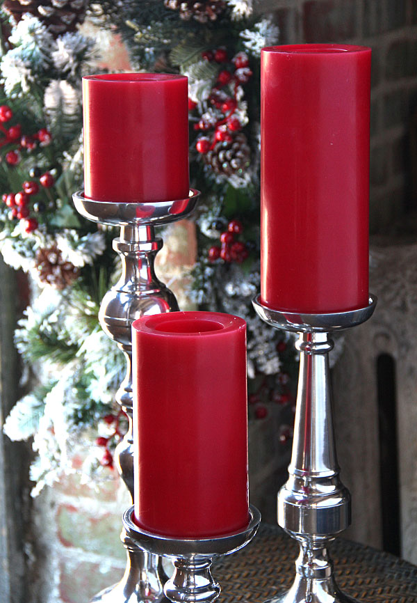 candle impressions 6 inch smooth red flameless candle timer - Flameless Candles With Timer