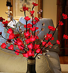Lighted Red Plum Branch 60 Bulbs - 20 Inches