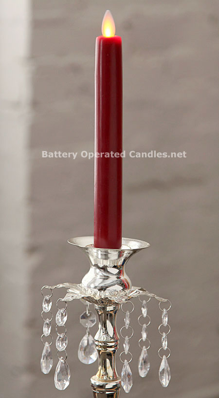 10 Inch Red Moving Flame Battery Operated Taper Candle Timer