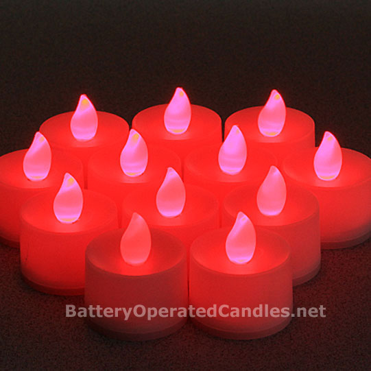 Tall Flameless Tea Lights Red Led Battery Operated Set Of 12