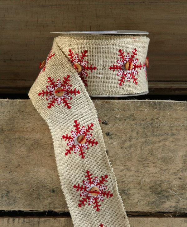 ivory snowflake button ribbon high quality jute 25 inch x 5 yards - Burlap Christmas Ribbon