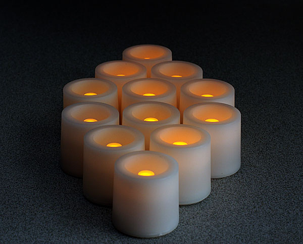 Tall Tea Lights With Recessed Amber Led Super Bright
