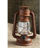 High Quality Battery Operated Vintage Style Dimmable Rusty Lantern With 12 LEDu0027s