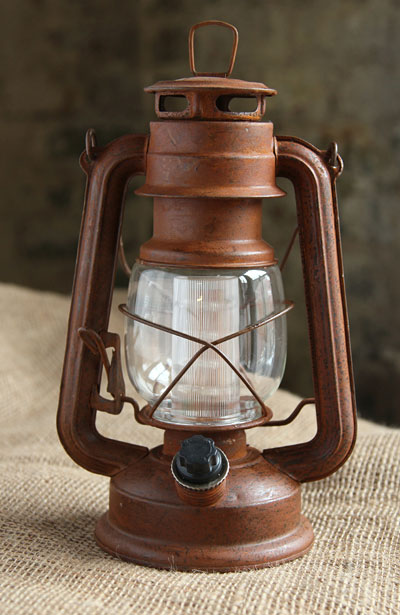 Battery Operated Vintage Style Dimmable Rusty Lantern With