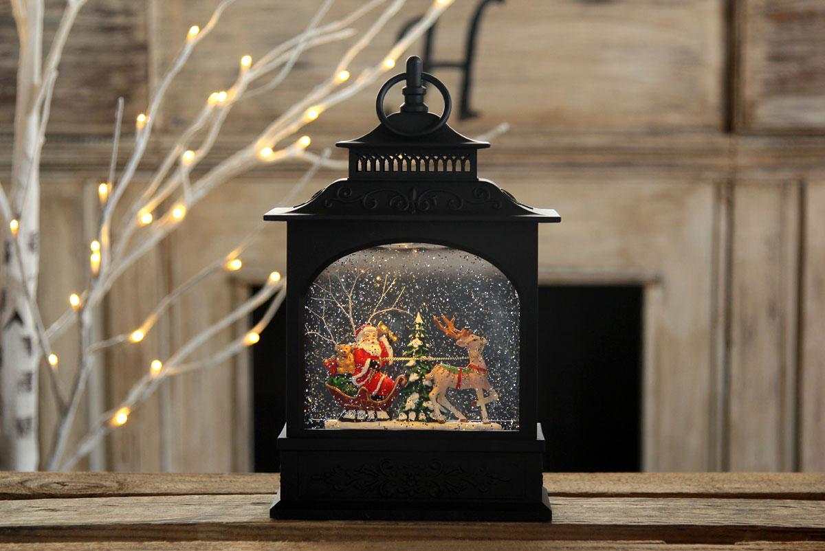 Santa In Sleigh Lighted Water Lantern Timer