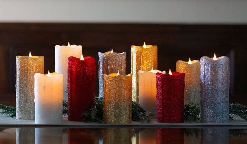 Simplux Led Gold Glittered Dripping Candle Moving Flame