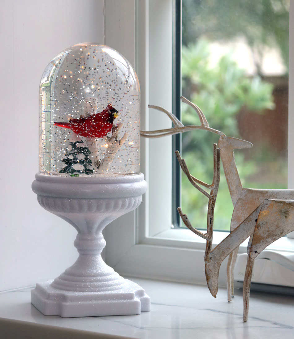 Lighted Musical Snow Globe With Single Cardinal On Pedestal