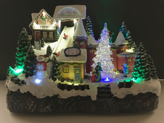 musical animated christmas winter ski village with sound and motion - Musical Animated Christmas Decorations