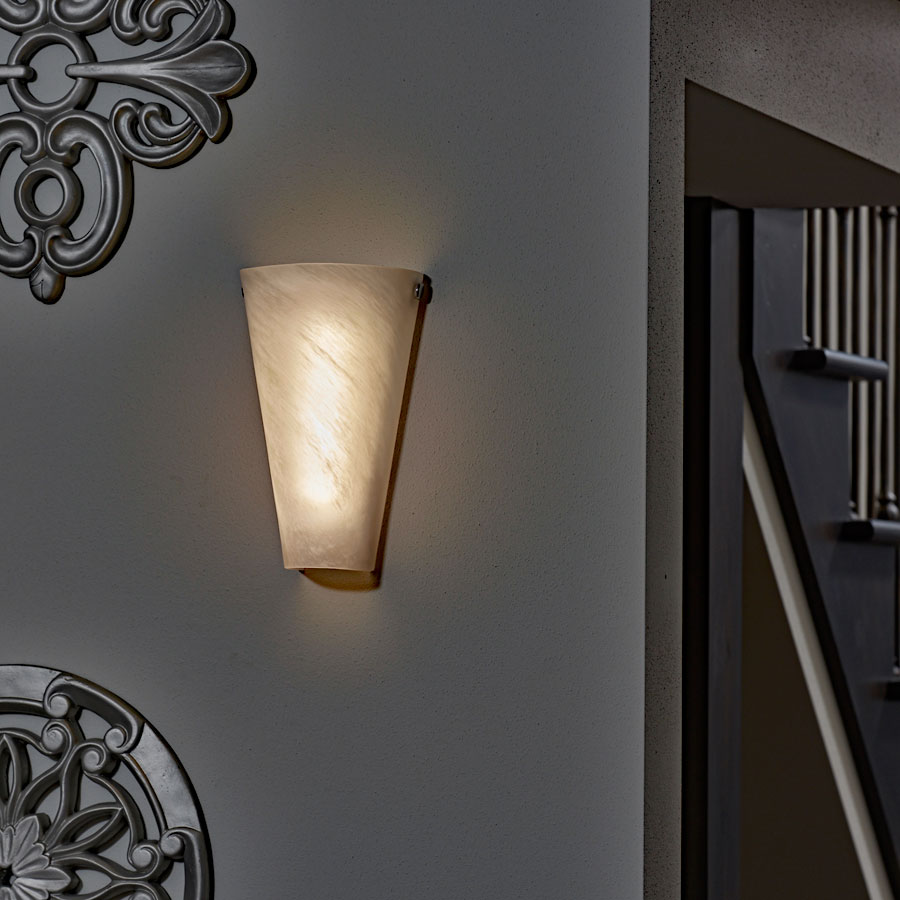 Battery Powered Wall Sconce Frosted Marble Conical Shade   Indoor/Outdoor