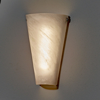Delicieux Battery Powered Wall Sconce Frosted Marble Conical Shade   Indoor/Outdoor