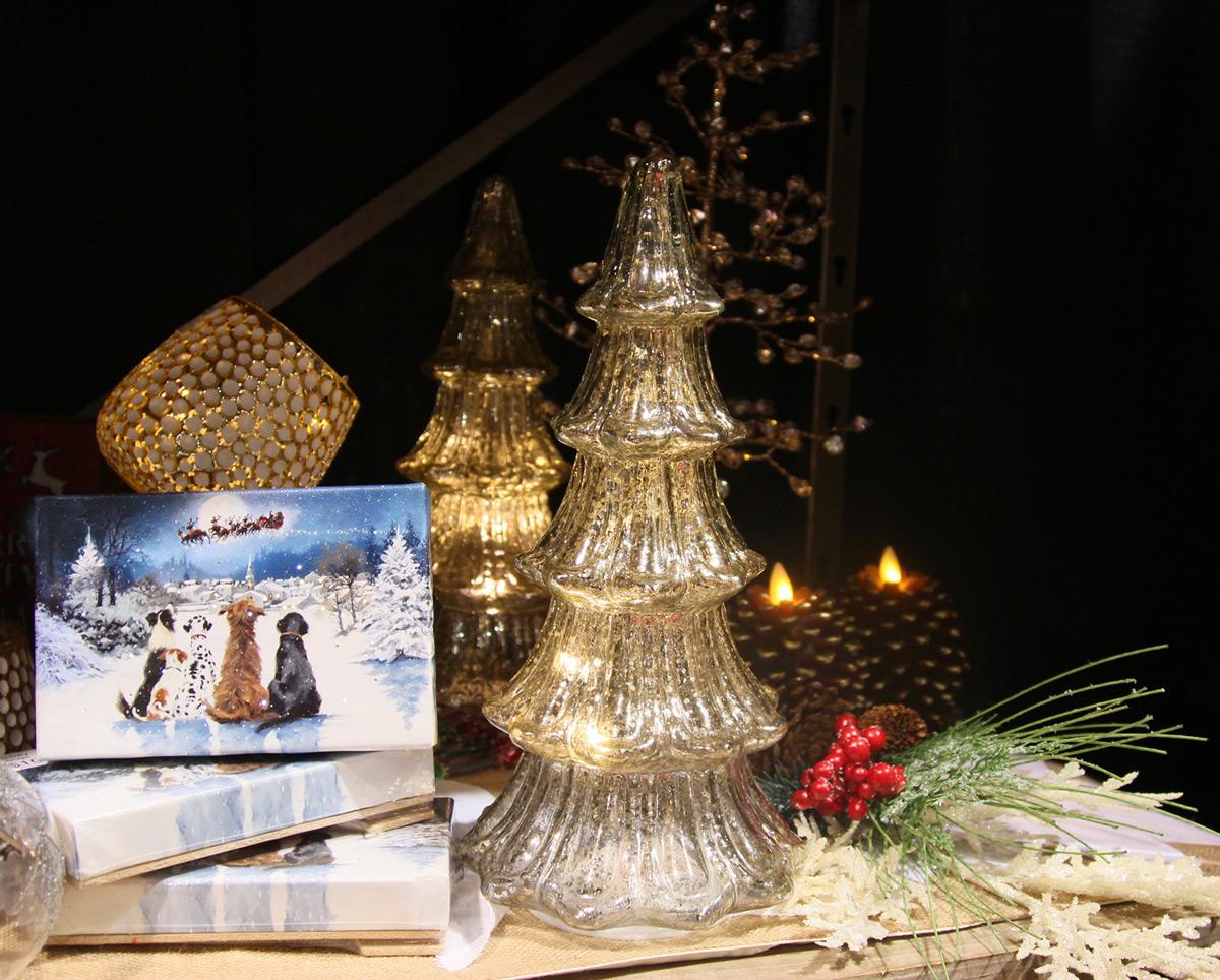 12 Inch Lighted Mercury Glass Christmas Tree