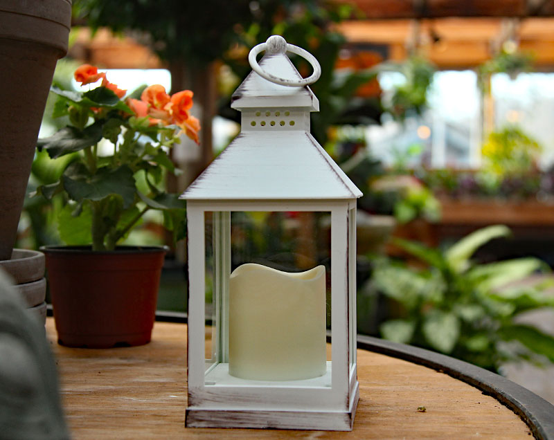battery operated brushed white candle lantern 95 inch 8 hour timer