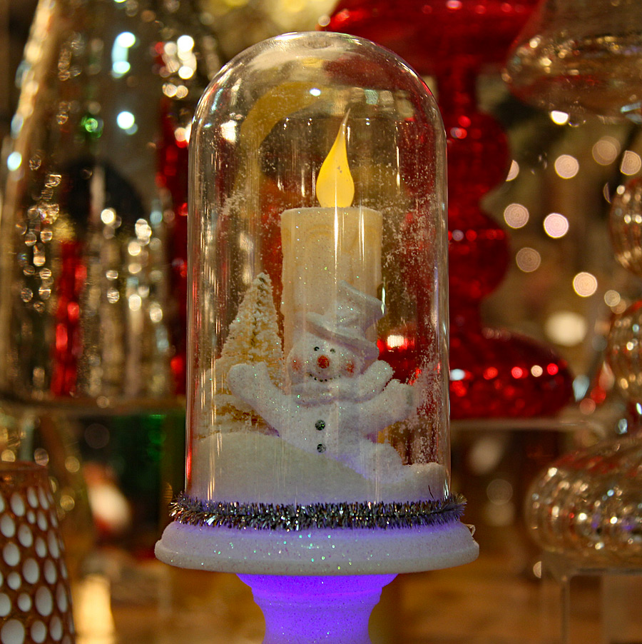 Glass Cloche Battery Operated Led Winter Scene On